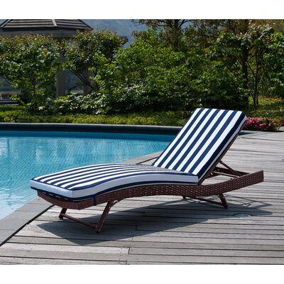 Rebecca Patio Lounger with Cushion Fabric: Navy Nautical