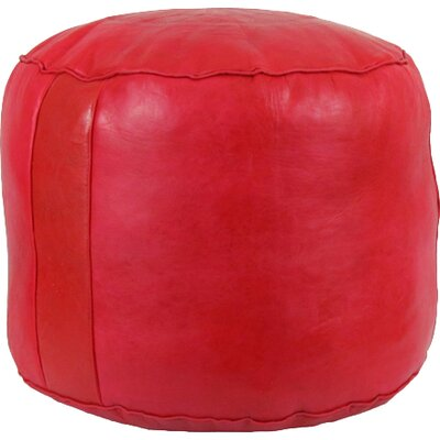 Neasa�Fez Leather Pouf Upholstery: Red