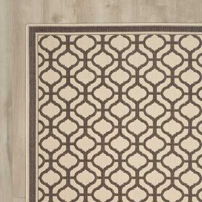 Tangier Cream / Chocolate Area Rug Rug Size: Rectangle 4 x 57