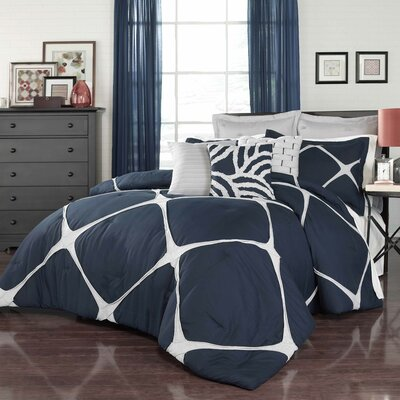 Parry Comforter Set Color: Navy, Size: Twin