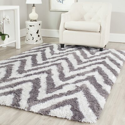 Haupt Gray/White Area Rug Rug Size: Rectangle 89 x 12