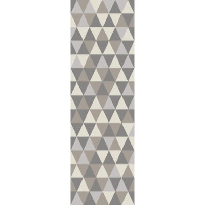 Hand-Tufted Light Gray/Charcoal Area Rug Rug Size: Runner 26 x 8