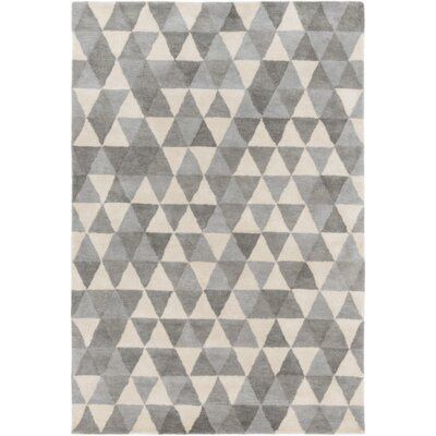 Hand-Tufted Light Gray/Charcoal Area Rug Rug Size: 36 x 56