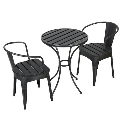 Biles 3 Piece Bistro Dining Set Finish: Black and Silver