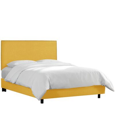 Upholstered Panel Bed Upholstery: Linen - French Yellow, Size: California King