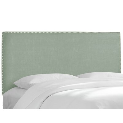 Upholstered Panel Headboard Size: Twin, Upholstery: Linen Swedish Blue