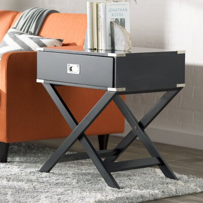 Marotta 1 Drawer End Table Color: Vulcan Black