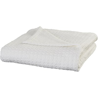 All-Natural Cotton Basket-Woven Blanket Color: White, Size: Full/Queen