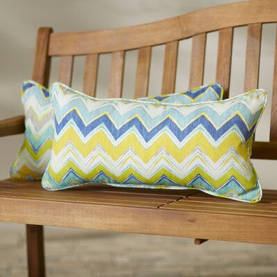 Nessa�Chevron Indoor/Outdoor Lumbar Pillow Set Size: 12x24