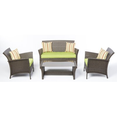 Kleisthenes 4 Piece Deep Seating Group with Cushion