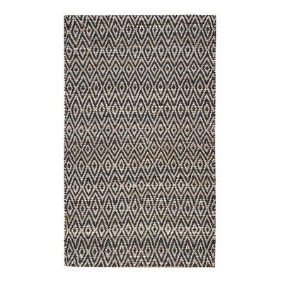 Pyrrhos Diamond Hand-Woven Black Area Rug Rug Size: 4 x 6