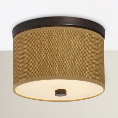 Denning 2-Light Fluorescent Flush Mount Color / Size / Shade Material: Oil Rubbed Bronze / 10 / Grass Cloth