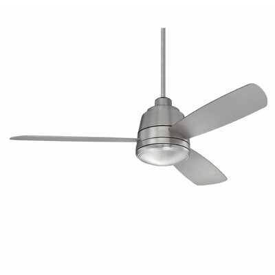 Melanthios 52 3-Blade Ceiling Fan with Remote Finish: Satin Nickel with Silver Blades