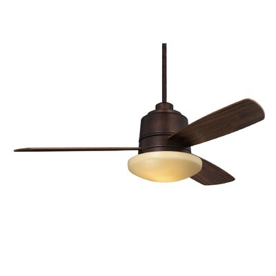 Melanthios 52 3-Blade Ceiling Fan with Remote Finish: English Bronze with Walnut Blades