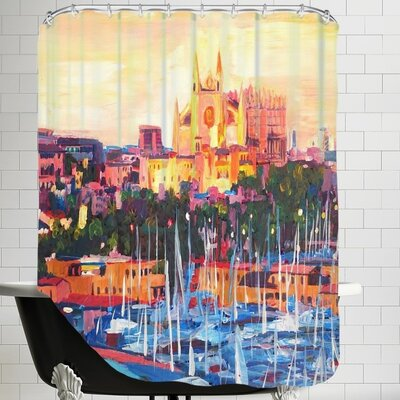 Spain Balearic Island Palma De Mallorca with Harbour and Cathedral Neu Shower Curtain