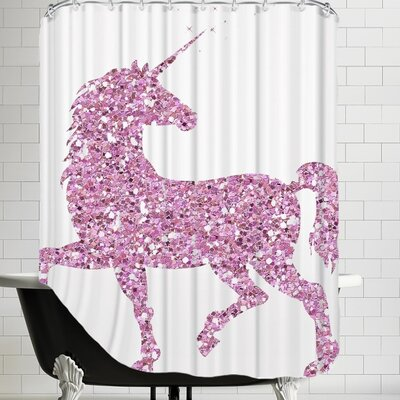 Unicorn Shower Curtain Color: Pink Glitter