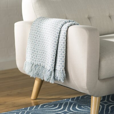 Bedoya Cotton Throw Blanket Color: Blue