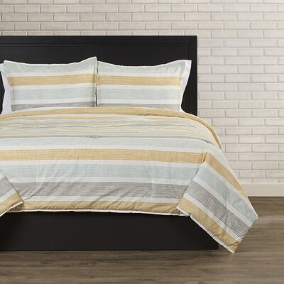 Tiberius Comforter Set Color: Gray, Size: Full / Queen