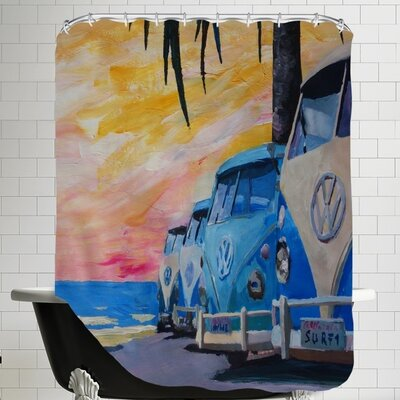 The Blue Surf Bus Line Shower Curtain