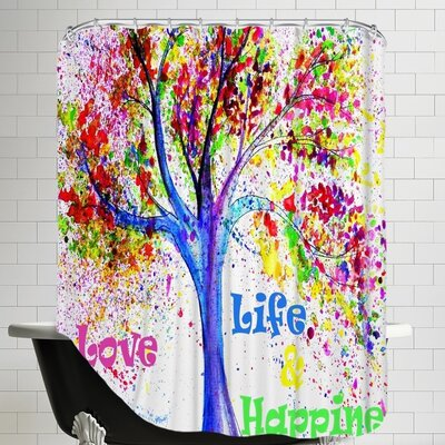 Tree Love Life Happiness Shower Curtain