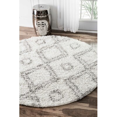 Baxley White Area Rug Rug Size: Round 710