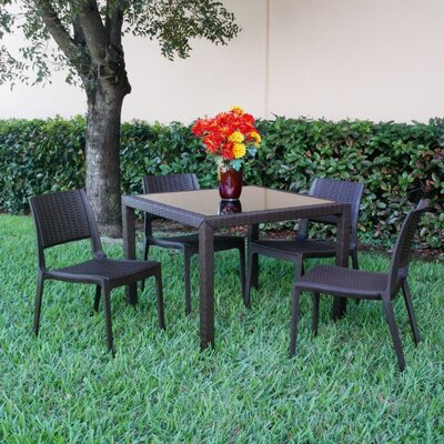 Kesler Modern 5 Piece Dining Set Color: Brown