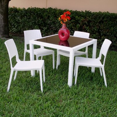 Kesler Modern 5 Piece Dining Set Color: White