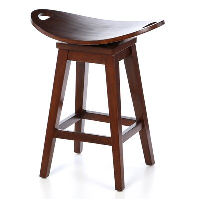 Heredia 24 inch Swivel Bar Stool Finish: Cherry