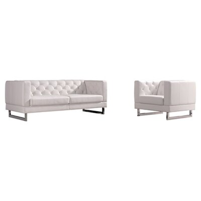 Obregon Contemporary 2 Piece Living Room Set Color: White