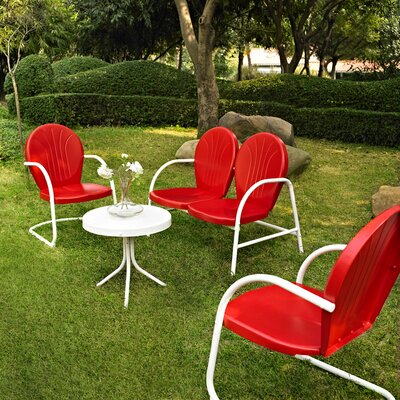 Timothea 4 Piece Lounge Seating Group Finish: Red
