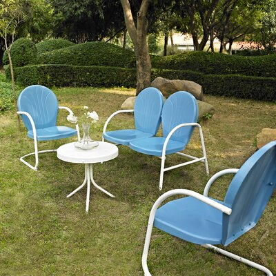 Timothea 4 Piece Lounge Seating Group Finish: Sky Blue