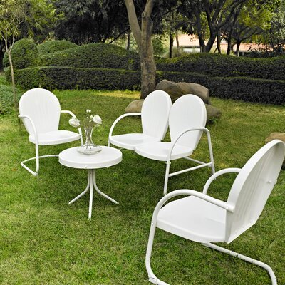Timothea 4 Piece Lounge Seating Group Finish: White