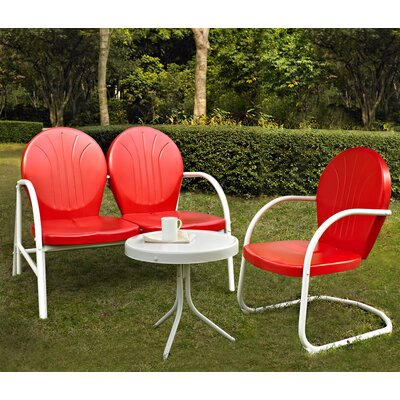 Timothea 3 Piece Lounge Seating Group Finish: Red