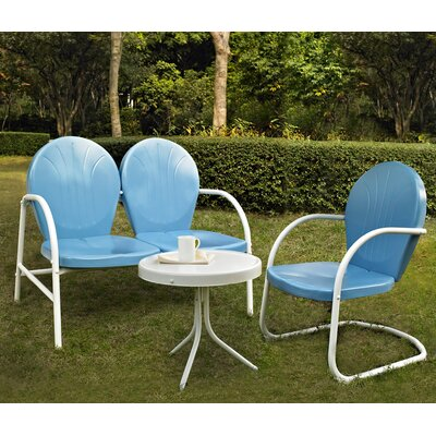 Timothea 3 Piece Lounge Seating Group Finish: Sky Blue