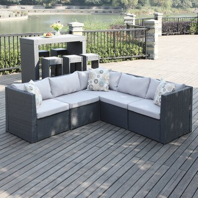 Lachesis Sectional with Cushion Color: Gray/Charcoal Gray