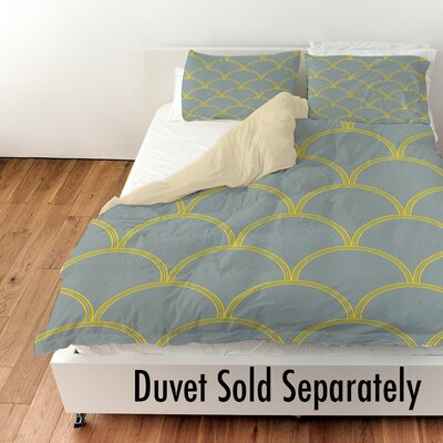 Archey Duvet Cover Color: Slate / Yellow, Size: Queen