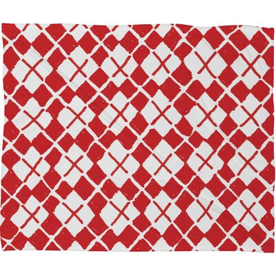 Estes Holiday Argyle Plush Fleece Throw Blanket Size: Large