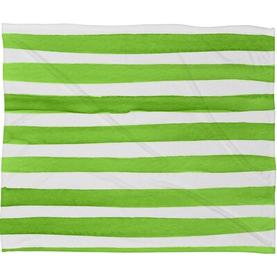 Thekla Spruce Stripes Plush Fleece Throw Blanket Size: Medium