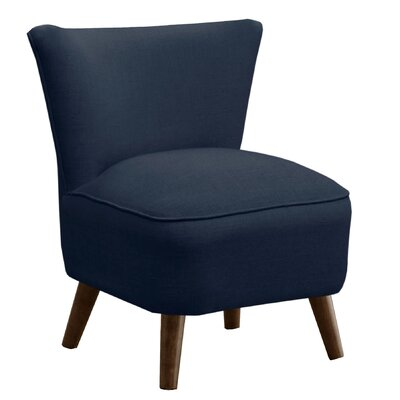 Cyril Linen Mid Century Slipper Chair Upholstery: Navy