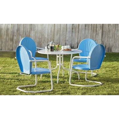 Timothea 5 Piece Dining Set Chair Finish: Sky Blue and White