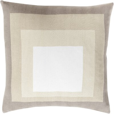 Vasilisa 100% Cotton Throw Pillow Size: 20 H x 20 W x 4 D, Color: Taupe, Filler: Down