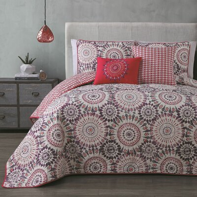 Alexios 5 Piece Reversible Quilt Set Size: King, Color: Coral