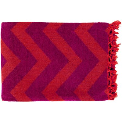 Manases 100% Cotton Throw Blanket Color: Plum / Tangerine