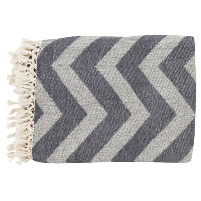 Manases 100% Cotton Throw Blanket Color: Ivory / Olive