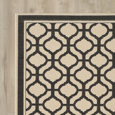 Tangier Creme / Black Area Rug Rug Size: Rectangle 27 x 5