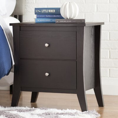 Quamba 2 Drawer Nightstand Finish: Matte Walnut