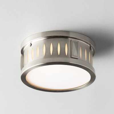 Kuhlman 2-Light Glass Shade Flush Mount Finish: Brushed Nickel