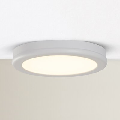 Stanwyck 1-Light Flush Mount Finish: White, Bulb Color Temperature: 3000K, Size: 0.88 H x 6 W x 6 D