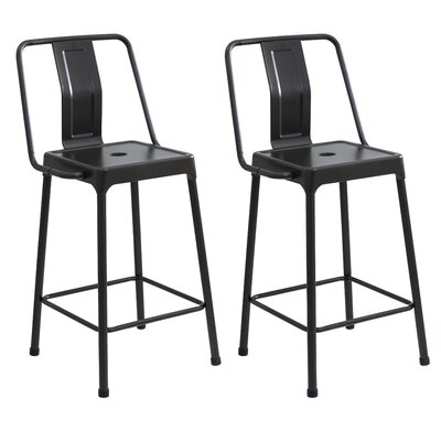 Kallias 24.75 Bar Stool Upholstery: Carbon Black