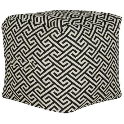 Neomi Fret Pouf Ottoman Upholstery: Black/White